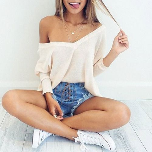 denim shorts, off the shoulder top and converse
