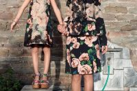 07 floral suit and a matching floral dress with red framed sunglasses