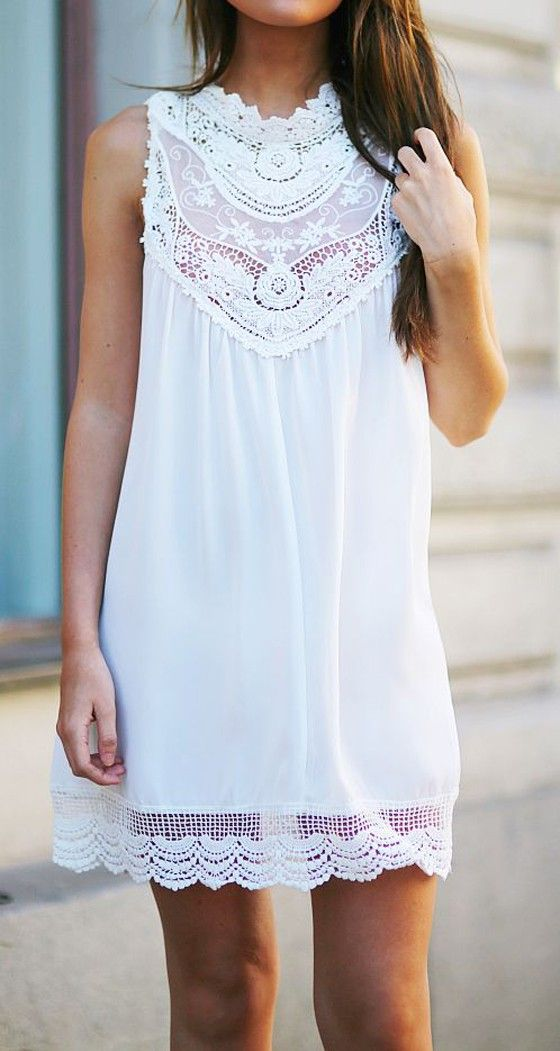 white lace cotton mini dress