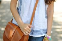 08 blue and white lnen top for summer casual