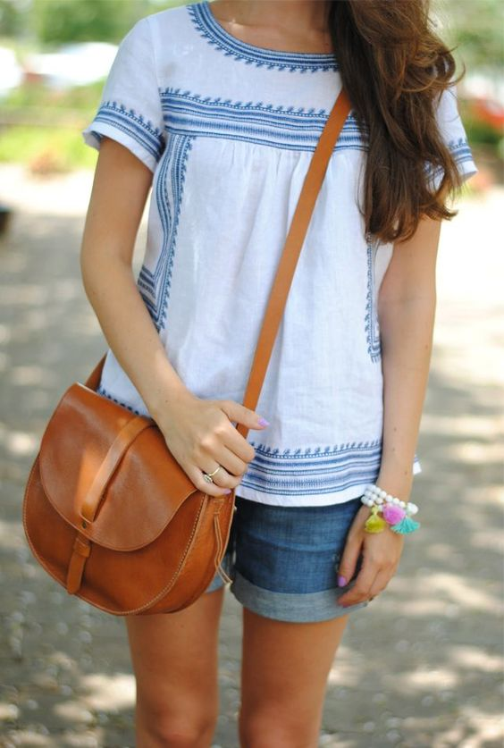 blue and white lnen top for summer casual