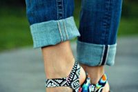 08 bold tribal print wedges