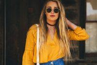 08 front button denim skirt with a bold yellow shirt