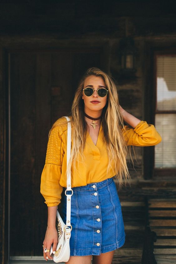 561eb3941c04 Yellow Shirt Outfit Girls. 27 Trendy Summer Denim Skirt Outfits That  Inspire - Styleoholic