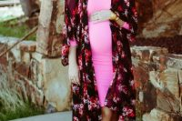 08 pink maternity dress with a floral cover