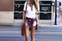 09 distressed denim shorts, a white tee, a checked shirt and converse