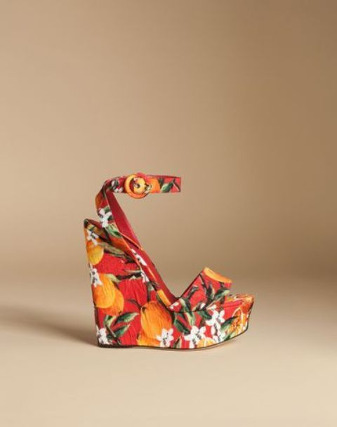 fruit and floral print wedges