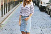 10 distressed denim midi, a striped shirt and converse