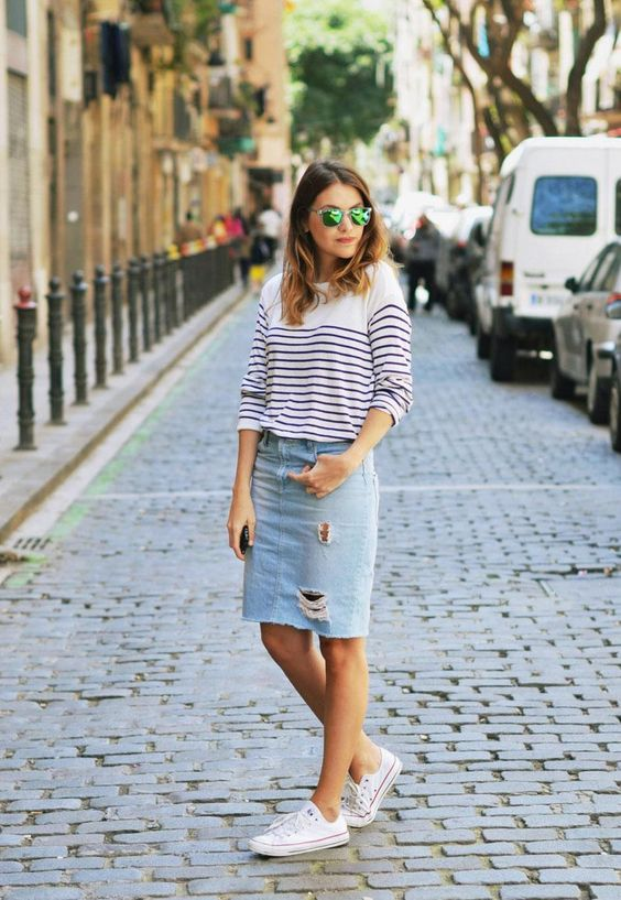 10 distressed denim midi, a striped shirt and converse
