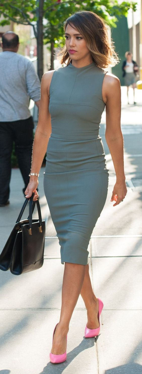 summer interview outfits for girls to make an impression grey pencil dress pink heels
