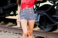 10 high waist shorts and a red tee