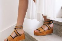 10 wood and leather platform sandals