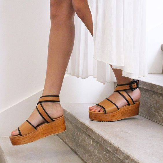 wood and leather platform sandals