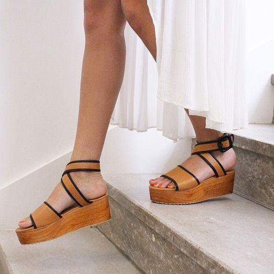 wood and leather platform sandals
