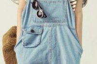 11 a denim dungaree and a striped tee