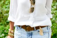 11 distressed bleached denim skirt with a white shirt