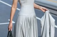 11 light grey pleated dress with a jacket