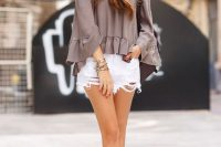 11 off the shoulder top and distressed shorts and converse