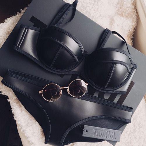 sexy black leather bikini