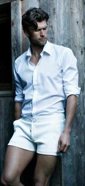 a white shirt and white shorts