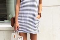 12 casual striped dress with white converse