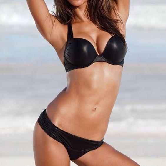 shimmery black leather bikini