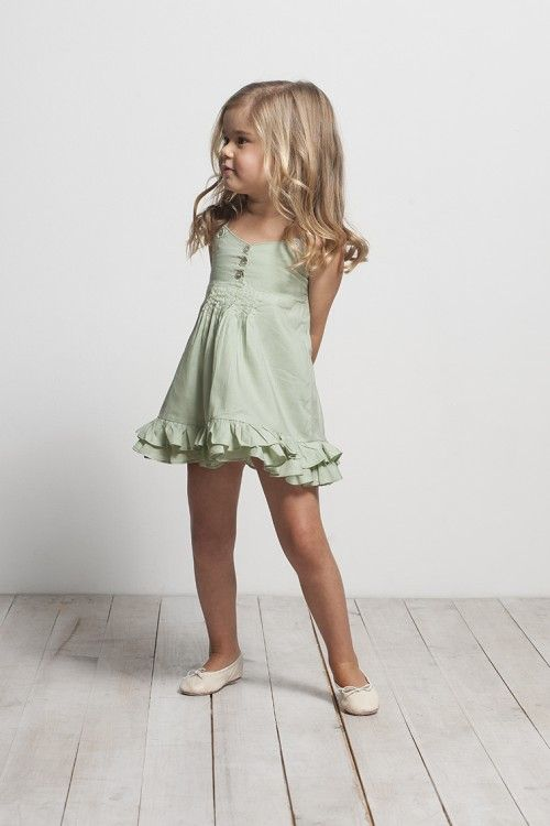 subtle green ruffle dress