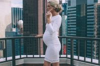 12 white lace dress and orange shoes for a future mom
