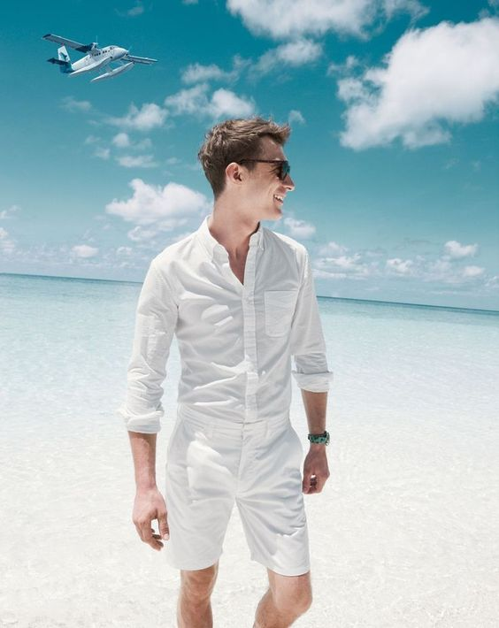 beach all-white look with a white shirt and shorts
