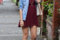 13 converse with a burgundy dress and a chambray shirt