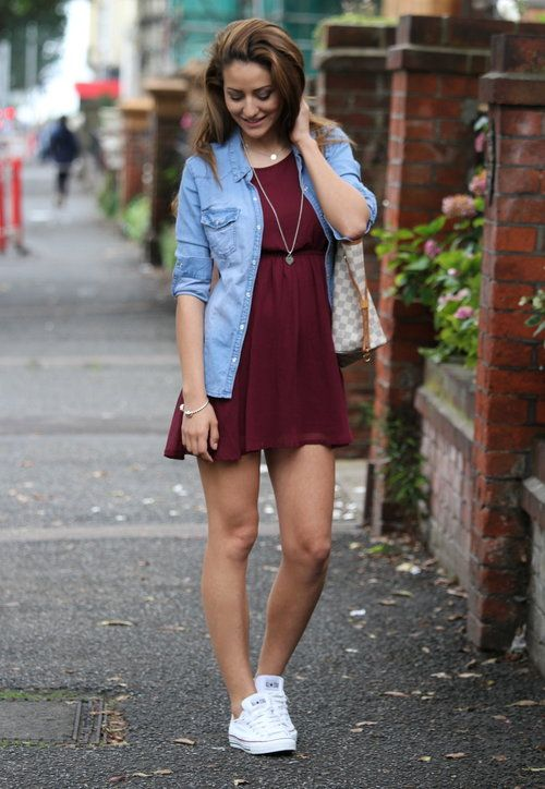 converse with a burgundy dress and a chambray shirt