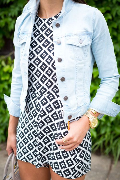 graphic dungaree and a denum jacket