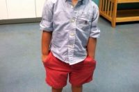 13 red shorts, a chambray shirt and shoes