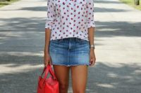 13 strawberry-print blouse with a denim skirt and a red bag