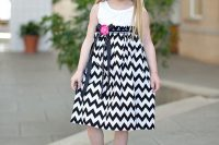14 chevron midi skirt with a white top