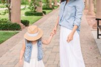 14 matching white lace dresses and denim jackets with hats