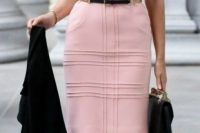 14 pink sheath dress, paointed-toe t-strap pumps and a skinny belt