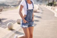 14 white crop top and a denim dungaree