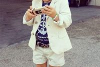 14 white suit, anchor tee and striped toms for a seaside look