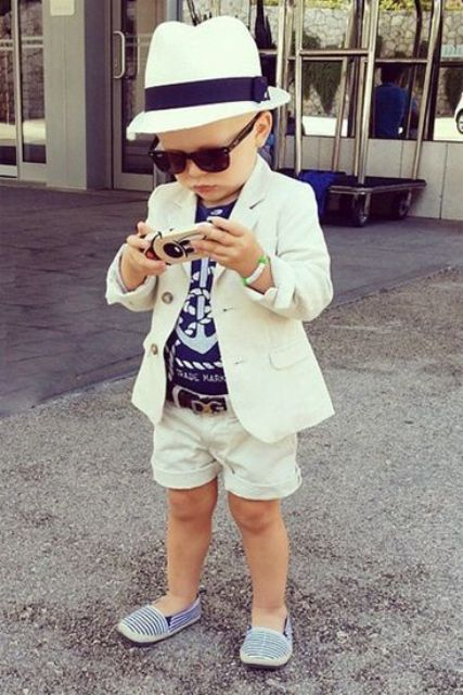 white suit, anchor tee and striped toms for a seaside look