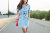 15 chambray shirt dress with a red purse and navy flats