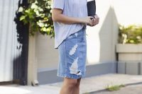 15 distressed denim pencil skirt with a t-shirt