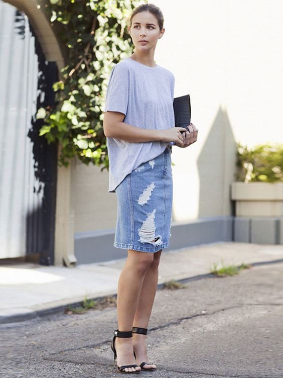 distressed denim pencil skirt with a t-shirt
