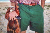15 green shorts and a bold printed shirt