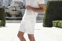 15 relaxed all-white look with white shorts and a sheer tee