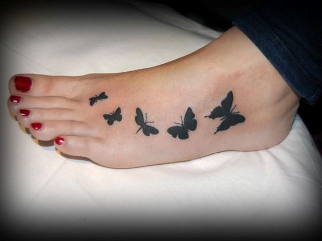 Picture Of Butterfly Tattoo On A Foot
