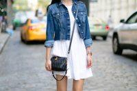 16 flowy white dress with a denim jacket on top
