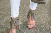 16 fringe ankle strap sandals