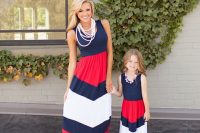 16 navy, red and white chevron maxi dresses