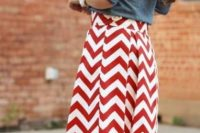 16 red and white chevron skirt and a denim jacket
